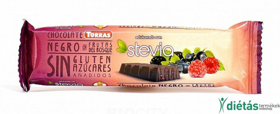 Torras Stevia Erdei Gyümölcsös étcsokoládé (gluténmentes, tejmentes) 35g